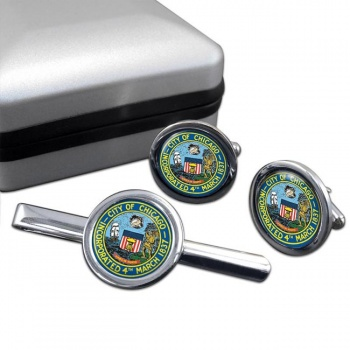 Chicago IL  Round Cufflink and Tie Clip Set