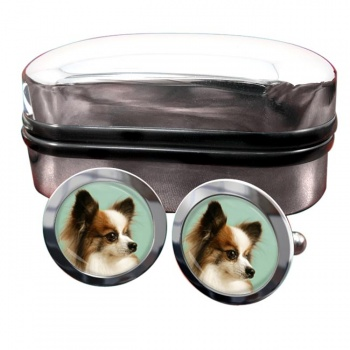 Japanese Chin  Round Cufflinks