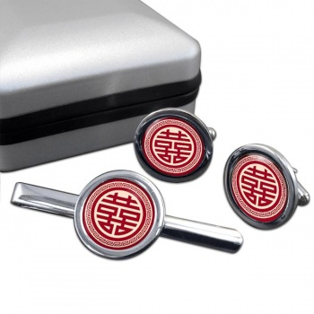 Chinese Happiness Symbol Round Cufflink and Tie Clip Sert