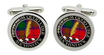 Auchinleck Scottish Clan Cufflinks in Chrome Box