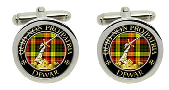 Dewar Scottish Clan Cufflinks in Chrome Box