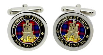 Maclachlan Scottish Clan Cufflinks in Chrome Box