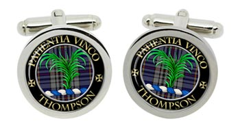 Thompson Scottish Clan Cufflinks in Chrome Box
