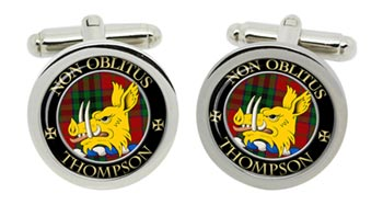 Thompson (Mactavish) Scottish Clan Cufflinks in Chrome Box