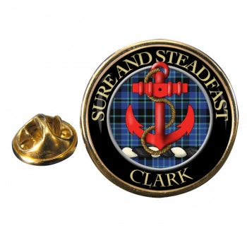 Clark anchor Scottish Clan Round Pin Badge