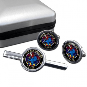 Clark lion Scottish Clan Round Cufflink and Tie Clip Set