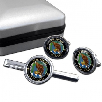 Clelland Scottish Clan Round Cufflink and Tie Clip Set