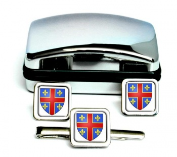 Clermont-Ferrand (France) Square Cufflink and Tie Clip Set