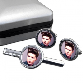 Cliff Richard Round Cufflink and Tie Clip Sert