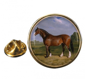 A Clydesdale Stallion by Herring Round Pin Badge