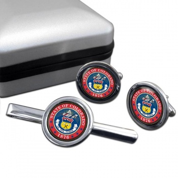 Colorado  Round Cufflink and Tie Clip Set