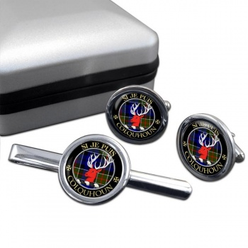 Colquhoun Scottish Clan Round Cufflink and Tie Clip Set