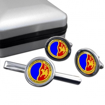 Comanche Nation (Tribe) Round Cufflink and Tie Clip Set