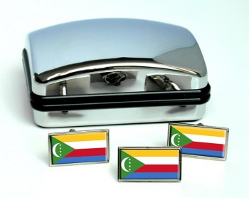 Comoros Flag Cufflink and Tie Pin Set