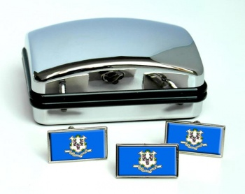Connecticut  Flag Cufflink and Tie Pin Set