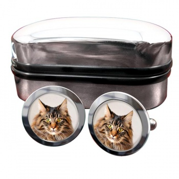 Maine Coon Cat  Round Cufflinks