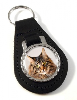 Maine Coon Cat Leather Key Fob