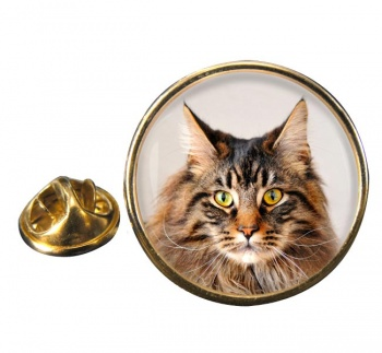 Maine Coon Cat Round Pin Badge
