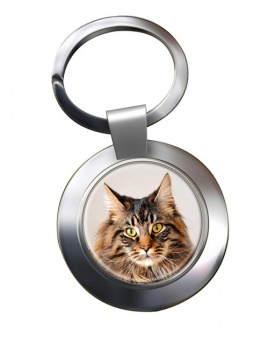 Maine Coon Cat Metal Key Ring