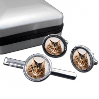 Maine Coon Cat  Cufflink and Tie Clip Set