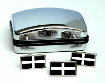 Cornwall (England) Flag Cufflink and Tie Pin Set