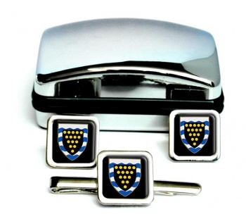 Cornwall (England) Square Cufflink and Tie Clip Set