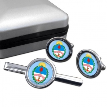 Argentine Corrientes Round Cufflink and Tie Clip Set
