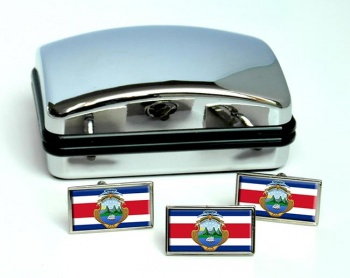 Costa Rica Flag Cufflink and Tie Pin Set