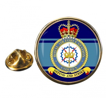 RAF Station Cowden Round Pin Badge