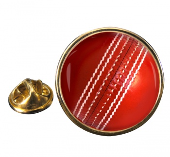 Cricket Ball Round Pin Badge