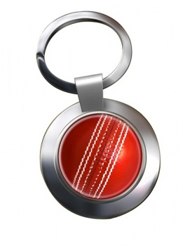 Cricket Ball Chrome Key Ring