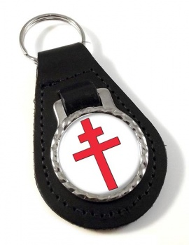 Cross of Lorraine Leather Keyfob