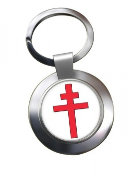 Cross of Lorraine Leather Chrome Key Ring