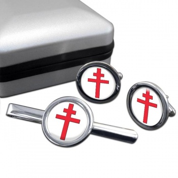 Cross of Lorraine Round Cufflink and Tie Bar Set