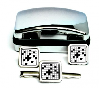 Crossword Puzzle Square Cufflink and Tie Clip Set