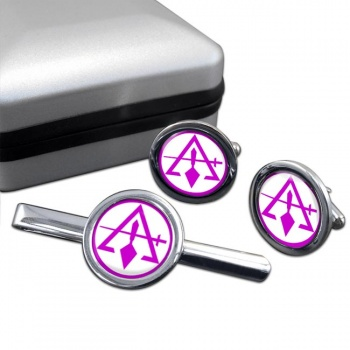Council of Royal & Select Masters of Cryptic Masons (York Rite) Round Cufflink and Tie Clip Set
