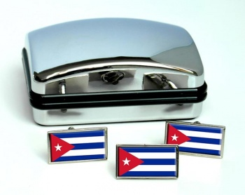 Cuba Flag Cufflink and Tie Pin Set