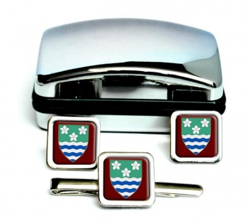 Cumberland (England) Square Cufflink and Tie Clip Set