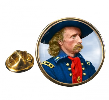 General Custer Round Pin Badge