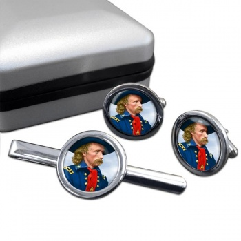 General Custer Round Cufflink and Tie Clip Set