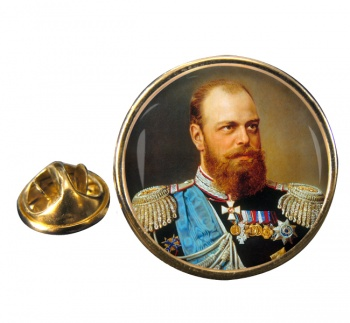 Czar Alexander III Round Pin Badge