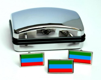 Dagestan Flag Cufflink and Tie Pin Set