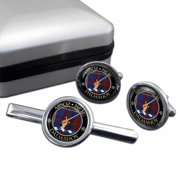 Dalmahoy Scottish Clan Round Cufflink and Tie Clip Set