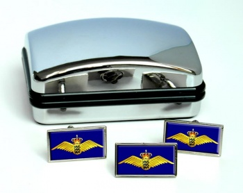 Royal Danish Air Force (Kongelige Danske Flyvevåbnet) Rectangle Cufflink and Tie Pin Set