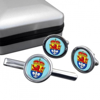 Darmstadt (Germany) Round Cufflink and Tie Clip Set