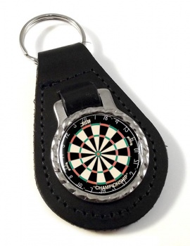 Dartboard Leather Key Fob