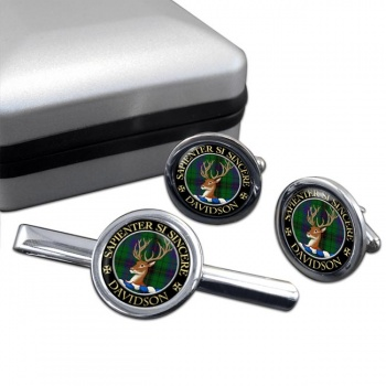 Davidson Scottish Clan Round Cufflink and Tie Clip Set