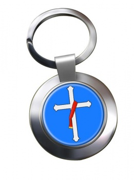 Deacons Cross Leather Chrome Key Ring