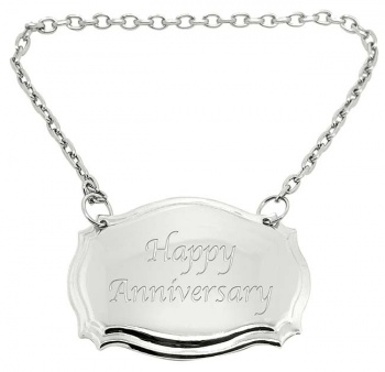 Happy Anniversary Engraved Silver Plated Decanter Label