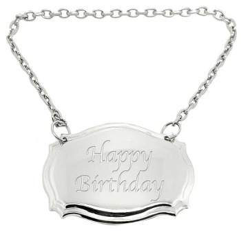Happy Birthday Engraved Silver Plated Decanter Label